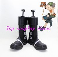 Cheap Wholesale-Freeshipping anime One piece Portgas D. Ace Cosplay Boots shoes Hand made custom-made for Halloween Christmas
