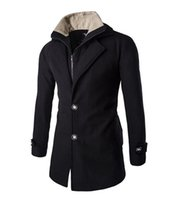 Wholesale 2016 new men s clothing Autumn and winter lambs wool coat Stitching long section of wool coat Nick Men s double coat placket