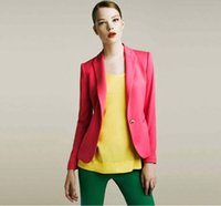 Wholesale 2016 Women Suit Blazer Foldable Brand Jacket Made Of Cotton Spandex With Lining Vogue Candy Colors Blazers