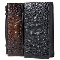 angels credit card - European and American wind man purse leather long dark angel leather men s bags Men s business card bag crocodile grain leather hand bag
