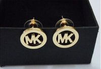 Wholesale The new ms KM fine circular letters Earrings stud earrings earpins