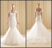 beautiful garden designs - Wonderful Off Shoulder Mermaid Wedding Dresses Lace Tulle Organza Sweetheart Beautiful Back Chaple Train Ruffles Design Garden Dresses