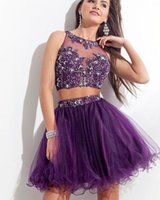 Wholesale New Sexy Purple Short Two Pieces Homecoming Dresses Beaded Crystal Appliques A Line Prom Cocktail Graduation Gown Q41