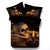 achat en gros de bedroom set-Halloween noir couleur 3D crâne imprimé literie ensembles Twin Full Queen King Size couvre couvre lit couvertures pour enfants décor adulte de chambre à coucher