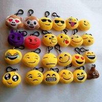 Wholesale 10cm Emoji Emoticon Soft Stuffed Plush Yellow Round Keychain Keyrings Yellow Round Cushion Pillow Pendant Key chain face