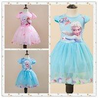 Wholesale 2016 Hot styles Party Dress frozen Elsa Anna dress girls lace tutu baby clothes blue pink cosplay Princess Dress b0026