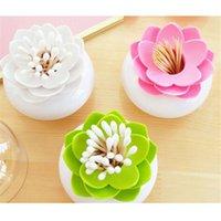 Wholesale pc Fashion Colors Lotus Home Decor Toothpick Cotton Swab Holder Storage Box Pick Toothpick case GI870661