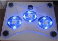 Wholesale USB PC Notebook Laptop Cooler Cooling Pads with Fans cooling radiator Blue LED White