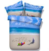 beach themed bedding - 3D Beach Comforter sets duvet cover quilt queen size Cal King twin bed sheet bedspread linen blue sea themed Comforters gift
