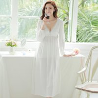 Wholesale Spring Sexy V Neck Lace Nightgown Princess Sexy Home Dress Comfortable White Sleepwear Women Chemise De Nuit