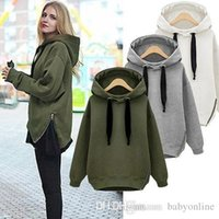 Wholesale Street Fashion Arm Green Grey Black New Winter Autumn Loose Hooded Jacket Plus Size Velvet Long sleeve Sweatshirts Korean Style Hoodies