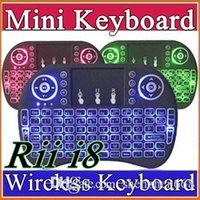 Wholesale 10X Rii I8 Mini Keyboard Wireless Backlight RED Green Blue Light Air Mouse Remote With Touchpad Handheld For T95 M8S S905X S905 TV BOX A FS