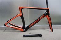 Wholesale 2016 Newest Glossy Cipollini NK1K Black Orange Carbon Road Bike Frame XS S M L Frameset with Fork Seat Post Headset