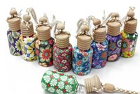 Wholesale 300PCS ml Car hang decoration Ceramic essence oil Perfume bottle Hang rope empty bottle random colors styles D906