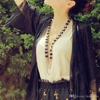 Wholesale long black Gem necklace for women fashion lined jewellery alloy Gem European and Amecian style HQ