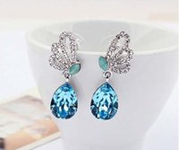 american diversity - Butterfly tears crystal earrings studs Korean American fashion jewelry earrings burst cute Color diversity Embody charm eardrop earrings