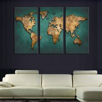 Cheap Unframed 3 Panel Map Wall Art Picture Modern Painting Canvas Home Decoration Living Room Canvas Print--Large Canvas Art