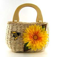 bee handbag - 2016 newest handmade straw woven little bee flower handbag Classic straw summer beach sea shoulder bag