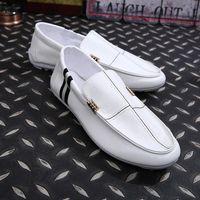 Wholesale Italian Men Loafers Leather Mens Dress Shoes luxury Brand Flats Shoes Driving Black Bule Boat Shoes Men zapatos hombre mocassin