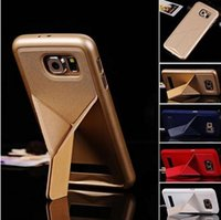 Luxe Transformer Slim Pliage cas de couverture arrière pour l'iphone 5 6 plus Samsung Galaxy S6 S6 bord Tribune Fonction Transformer PU étui en cuir