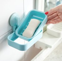 bathroom furniture vanities - Strong Suction Bathroom Shower Accessories Plastic Soap Dish Holder Tray Soap Box Bathroom Furniture Toilet Vanity