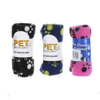 Wholesale Cute Pet Dog Cat Blanket Paw Prints Soft Warm Fleece Mat Bed Cover Four Colors Choose Dog Beds Accessories