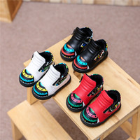Wholesale Kids fashion little monster warm sneaker Double Zippers pu splicing Sport shoes Baby winter plush lining warm ankle boots colors