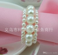 bamboo dinner table - New Shiny White Round Pearls Napkin Rings for wedding dinner showers holidays Table Decoration Accessories Z530
