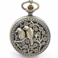 best stationary design - Two birds design case Mechanical pocket watch with chains Hand Winding up Crystals Movement best pocket watches for men for sales