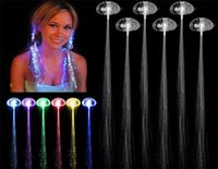 Wholesale Luminous Light Up LED Hair Extension Flash Braid Party girl Hair Glow by fiber optic For Party Christmas Halloween Night Lights Decoration D