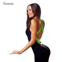 Wholesale Vertvie Backless Yoga Sets Women Fitness Kit Sport Sets One Piece Bandage Sposts Jumpsuits Gym Workout Set Rompers Bodysuits