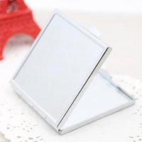 Wholesale 2016 new Compact Mirrors Blank Compact Mirror Square Makeup Mirror Silver Color Makeup Tools Accessories