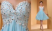 art flower delivery - 2016 Sky Blue Water Soluble Lace Cocktail Dress Chiffon Short Skirt Homecoming Dress Sequins Beaded Party Full Dress Free Delivery