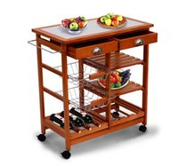 bamboo storage basket - New quot Kitchen Trolley Cart Wood Rolling Dining Storage Stand Countertop Basket