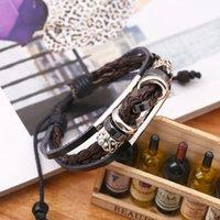 Bracelet en cuir véritable Bracelet en cuir véritable, hommes et femmes vintage braceletsbangles gravées vintage, bijoux en bois multicolores en coréen