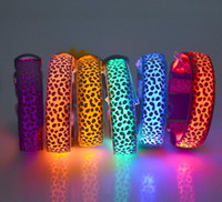 led glow products - 9 Color Glow LED Dog Pet Cat Flashing Light Up Nylon Collar Night Safety Collars Supplies Products Leopard Print Pet LED Dog Collar