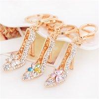 al por mayor monedero de los encantos del rhinestone-30pcs de la manera 3D zapatos llavero de la novedad de alta del talón del zapato clave encantos del bolso del monedero del regalo de Cadenas Cristal Decor sandalia Llavero F694-1