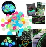 Wholesale 100PCS set Garden Ornaments Mixed Color Glow In The Dark Luminous Pebbles Stones Wedding Decoration Crafts Home Party Event Supplies