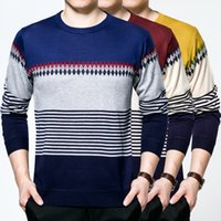 Wholesale 2016 New Autumn Fashion Brand Casual Sweater O Neck Striped Slim Fit Knitting Mens Sweaters And Pullovers Men Pullover Men XL