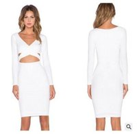 women dress drop ship - 2016 Autumn long sleeved dress sexy women deep V Lace nightclub white color cut out dresses new DHL freeshipping drop shipping