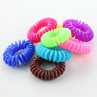 Wholesale 10 pieces of elastic ring hair tie the holder with multi color telephone wire rope elastic head tied hair band random color