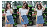 jean skirts - In the summer of the European and American wind jean skirts ladies double breasted cultivate one s morality short skirt six yards