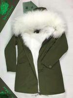 qltrade_1 Горячая продажа MR MRS Itlay лисицы подкладке куртку с мехом енота толстовка MR MRS мехов армия холст длинные куртки