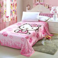 achat en gros de queen size couverture en peluche-Couverture Hello Kitty pour adulte / Kids Couverture en laine de peluche Kawaii Couverture de lit sur le lit / canapé / voiture, taille Queen 200 * 150cm