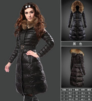 Wholesale Coats Skirt Fur Collars - Hot 2016 winter down jacket coat women Fashionable women clothes Fur collar Black long down coat female Light overcoat