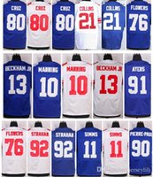 Wholesale Giants Eli Manning Phil Simms Odell Beckham Jr Ahmad Bradshaw Victor Cruz Pierre paul size small S XL top quality