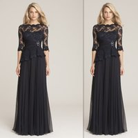 Wholesale Plus Size Mother Of The Bride Dresses Black Lace Half Sleeves Sheer Neck A Line Chiffon Elegant Evening Party Wears Wedding Guest Dress