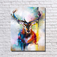 Wholesale Hand painted abstract canvas wall art decor christmas deer oil painting animal head wall decoration