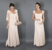 Wholesale Bridal Mother Dresses for Beach Wedding Long Cap Sleeves Wedding Guest Dresses Mother of the Groom Dresses with Lace Jacket
