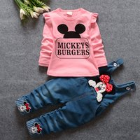 Wholesale Lowest Price Long Sleeve Suspenders Two piece Girls Suit Mickey s Burgers Cartoon Spring Autumn Girl Clothing Sets Children Clothes